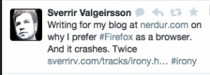 Tweet about Firefox crashing